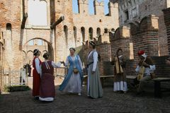 Siege of the Rocca, in Soncino - Lombardy - Italy - 6th and 7th October 2018. NThe siege of the fortress is a historical reconstruction that takes place every 3 royalty free stock photography