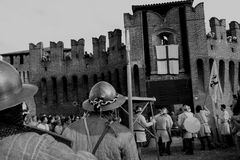 Siege of the Rocca, in Soncino - Lombardy - Italy - 6th and 7th October 2018. NThe siege of the fortress is a historical reconstruction that takes place every 3 stock photos