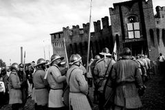 Siege of the Rocca, in Soncino - Lombardy - Italy - 6th and 7th October 2018. NThe siege of the fortress is a historical reconstruction that takes place every 3 royalty free stock images