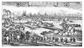 Siege and sack of Magdeburg, Protestant city during the Thirty Y. Year 1631 sack of Magdeburg after the siege by Catholic forces of Holy Roman Empire during the Royalty Free Stock Images