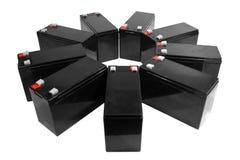 Siegelblei-säure-batterien auf weißem Hintergrund Stockfoto