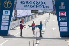 Sieger des Halbmarathons für Männer Lizenzfreie Stockfotografie
