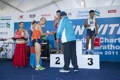 Sieger des Malaysia-Marathons auf Veteranen öffnen sich Stockfotografie