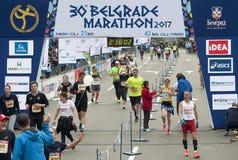 Sieger des Marathons für Frau Lizenzfreie Stockfotografie