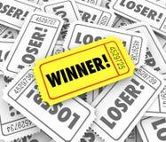Sieger-goldene Karten-Lucky Odds Winning Lottery Jackpot-Zeichnung vektor abbildung