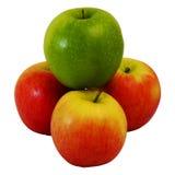 Sieger grünes Apple auf Gruppe des roten Apfels Stockbilder