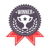 Sieger-Prize Ausweis mit Trophäen-Ikone Lizenzfreie Stockbilder