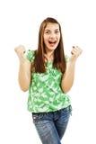 Siegerfrau, die Erfolg feiert Lizenzfreie Stockbilder