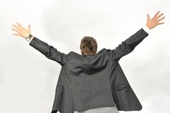 Siegergeschäftsmann, der von der Freude schreit Lizenzfreies Stockfoto