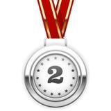 Siegersilbermedaille auf Band Lizenzfreie Stockbilder