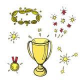 Siegerzeichen Karikaturvektor-Handzeichnung vektor abbildung