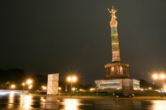 Siegessäule in berlin,Germany. Siegessäule in berlin at night ,Germany stock images