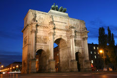 Siegestor in Munich. The Siegestor (Victory Gate) in Munich is a three-arched triumphal arch crowned with a statue of Bavaria stock images