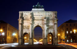 Siegestor in Munich at dusk Stock Photo