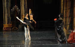 Siegfried and black swan dance-The prince adult ceremony-ballet Swan Lake Stock Photography