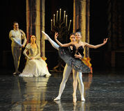 Siegfried and black swan dance-The prince adult ceremony-ballet Swan Lake. In December 20, 2014, Russia's St Petersburg Ballet Theater in Jiangxi Nanchang Royalty Free Stock Photos