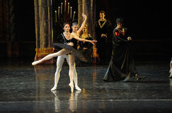 Siegfried and black swan dance-The prince adult ceremony-ballet Swan Lake Stock Image