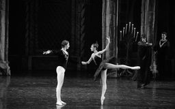 Siegfried and black swan dance-The prince adult ceremony-ballet Swan Lake Royalty Free Stock Photos