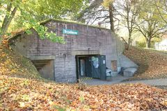 Siegfried line bunker in the German-French border. Entrance to  a fortified bunker, which is part of the Siegfried Line in the German French border and was used Stock Photography