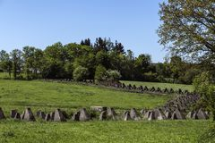 The Siegfried line or Westwall behind Aachen, Germany. Stock Photos