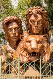 Siegfried & Roy monument statue memorial at the Mirage Hotel and Casino. Las Vegas, Nevada royalty free stock photos