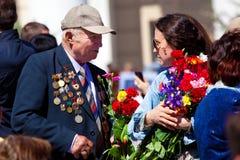 Siegtagesfeiern in Moskau Stockbild