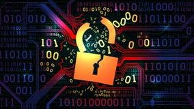 Siekać abstrakcjonistyczną zaporę, antivirus, komputerowa ochrona Siekający kędziorek przeciw tłu abstrakcjonistyczny futurystycz ilustracja wektor