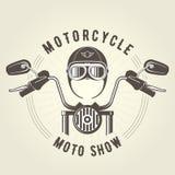Siekacza moto handlebar i rocznika motocyklu hełm ilustracja wektor