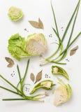 Siekający kapusta, zielona cebula i pikantność na bielu, Fotografia Royalty Free