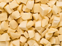 Siekający uncooked surowy czosnku jedzenia tło Zdjęcie Stock