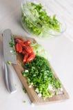 Siekający warzywa dla sałatki Obraz Stock