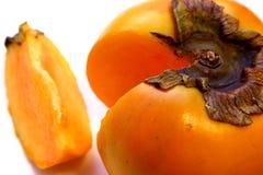 Siekająca Persimmon pojedyncza Owoc (Hebanu kaki) Obrazy Stock