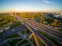Siekierkowski Warszawa w Polska podczas wschodu słońca i most obrazy stock