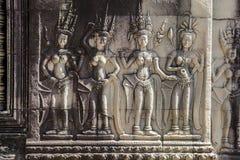Siem Przeprowadza żniwa Angkor Wat apsara tancerza antycznego kamiennego cyzelowanie obrazy stock