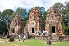 Siem Przeprowadza żniwa, Kambodża, Dec - 01 2016: Preah Ko w Roluos świątyniach A Zdjęcia Stock