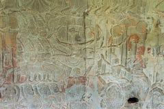 Siem Przeprowadza żniwa, Kambodża, Dec - 05 2016: Ulga przy Angkor Wat famou Obraz Stock