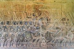 Siem Przeprowadza żniwa, Kambodża, Dec - 05 2016: Ulga przy Angkor Wat famou Fotografia Stock