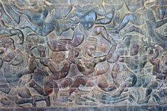 Siem Przeprowadza żniwa, Kambodża, Dec - 05 2016: Ulga przy Angkor Wat famou Obraz Royalty Free