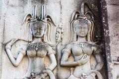 Siem Przeprowadza żniwa, Kambodża, Dec - 05 2016: Ulga przy Angkor Wat famou Obrazy Stock