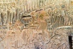Siem Przeprowadza żniwa, Kambodża, Dec - 05 2016: Ulga przy Angkor Wat famou Zdjęcia Stock