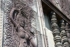 Siem Przeprowadza żniwa, Kambodża, Dec - 05 2016: Ulga przy Angkor Wat famou Obrazy Royalty Free