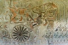 Siem Przeprowadza żniwa, Kambodża, Dec - 05 2016: Ulga przy Angkor Wat sławny Dziejowy siteUNESCO światowe dziedzictwo w Angkor,  Obraz Stock