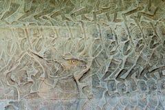 Siem Przeprowadza żniwa, Kambodża, Dec - 05 2016: Ulga przy Angkor Wat sławny Dziejowy siteUNESCO światowe dziedzictwo w Angkor,  Obrazy Stock