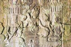 Siem Przeprowadza żniwa, Kambodża, Dec - 08 2016: Ulga przy Bayon świątynią w Ang Obraz Royalty Free