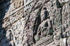 Siem Przeprowadza żniwa, Kambodża, Dec - 08 2016: Ulga przy Bayon świątynią w Ang Obrazy Stock