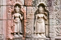 Siem Przeprowadza żniwa, Kambodża, Dec - 13 2016: Ulga przy Krol Ko w Angkor Zdjęcie Stock