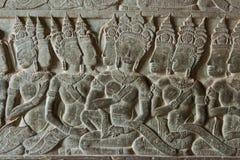 Siem Przeprowadza żniwa, Kambodża, Feb - 5 2015: Ulga przy Angkor Wat sławny obraz stock
