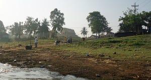 Siem Przeprowadza żniwa, Tonle aproszy rzeka Kambodża, Marzec, - 2018: Biedy Fishermans życie na tonle aproszy rzece Zdjęcie Royalty Free