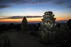 Siem Reap Angkor Wat Phnom Bakheng sunrise. Hilltop sunset UNESCO dawn Royalty Free Stock Image