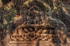 SIEM REAP, CAMBODIA .Bas-relief of Ta Prohm Temple. Stock Photos